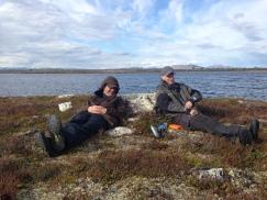 2 blide fiskere, om det var det fine været eller det brune ildvannet som lokket smilet mest vet jeg ikke ;-)